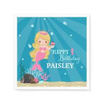 Blonde Mermaid Birthday Napkin