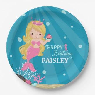 Blonde Mermaid Birthday Paper Plate