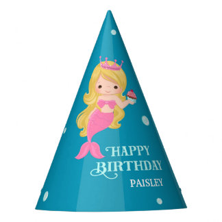 Blonde Mermaid Birthday Party Hat - Personalized