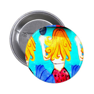 blonde mermaid button 2 inch round button