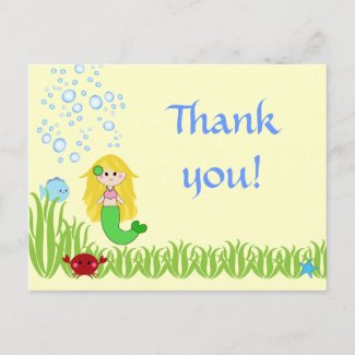 Blonde mermaid cute birthday thank you postcard postcard