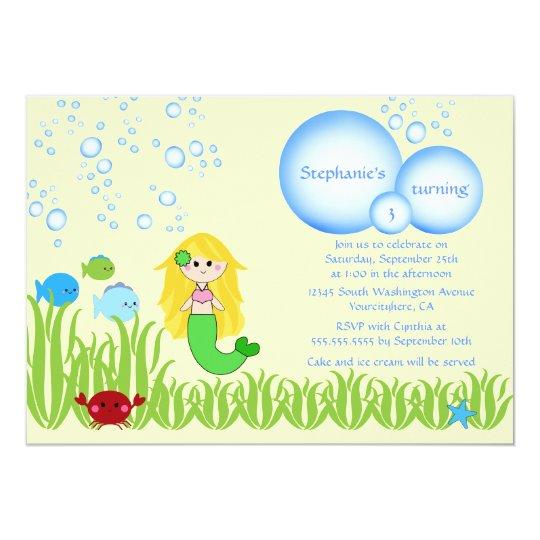 Blonde mermaid cute girl birthday party invitation