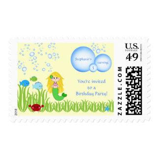 Blonde mermaid cute kids birthday party stamps