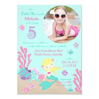 Blonde Mermaid Fifth Birthday Invitation