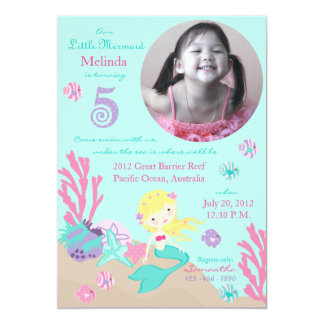 Blonde Mermaid Fifth Birthday Custom Invitations
