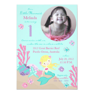 Blonde Mermaid First Birthday 5x7 Paper Invitation Card