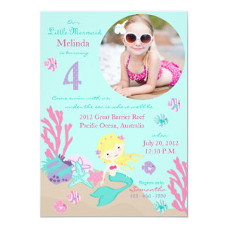 Blonde Mermaid Fourth Birthday Invitation
