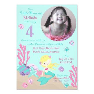 Blonde Mermaid Fourth Birthday Invitations