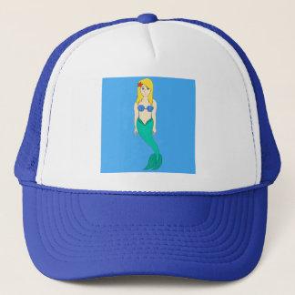 Blonde Mermaid Girl Trucker Hat