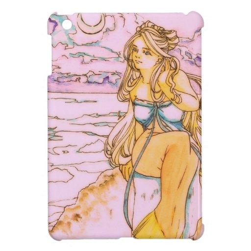 Blonde mermaid in moonlit night case for the iPad mini