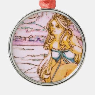 Blonde mermaid in moonlit night metal ornament