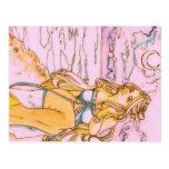 Blonde mermaid in moonlit night postcard