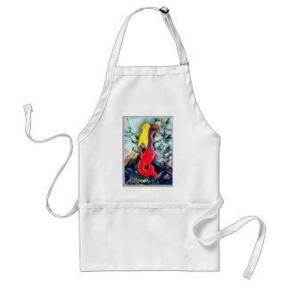 blonde mermaid in red adult apron