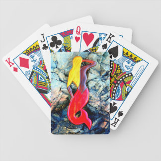 blonde mermaid in red bicycle playing cards