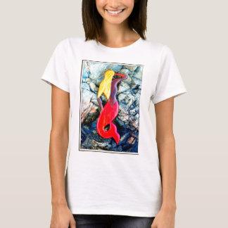 blonde mermaid in red T-Shirt