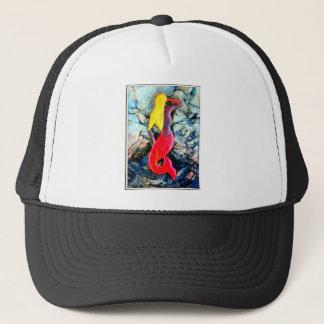 blonde mermaid in red trucker hat