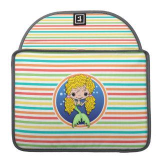 Blonde Mermaid on Bright Rainbow Stripes Sleeves For MacBook Pro