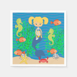 Blonde Mermaid Pool Party Standard Cocktail Napkin