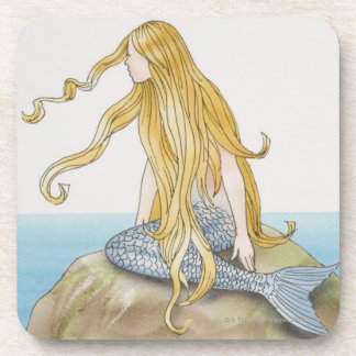 Blonde mermaid sitting on sea rock, side view. beverage coaster