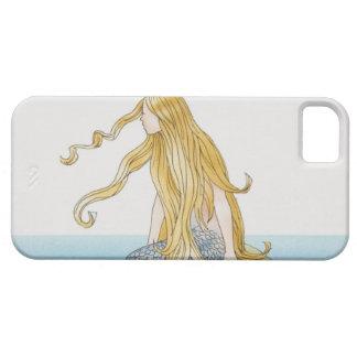 Blonde mermaid sitting on sea rock, side view. iPhone SE/5/5s case