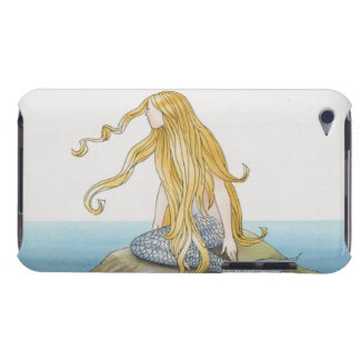 Blonde mermaid sitting on sea rock, side view. iPod Case-Mate case