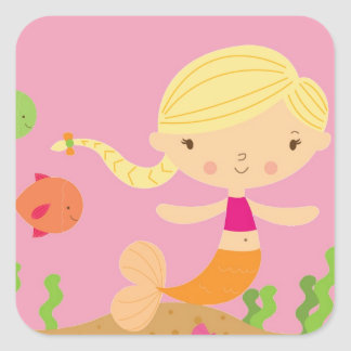 Blonde Mermaid Square Sticker