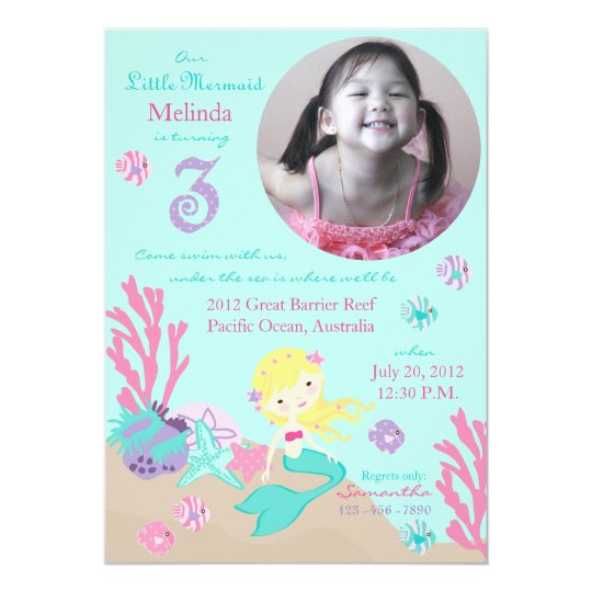 Blonde Mermaid Third Birthday Card