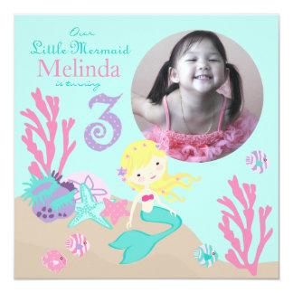 Blonde Mermaid Third Birthday 5.25x5.25 Square Paper Invitation Card
