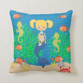 Blonde Mermaid Under The Sea Throw Pillow