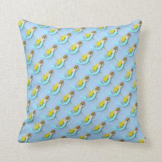 blonde mermaids on blue pillow