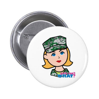 Blonde Military Girl Camo Head Buttons