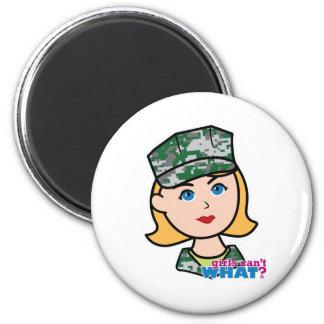 Blonde Military Girl Camo Head Refrigerator Magnet
