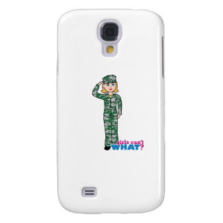 Blonde Military Girl in Camo Galaxy S4 Cover