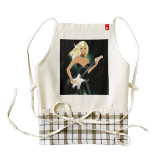 Blonde Model and Guitar Zazzle HEART Apron