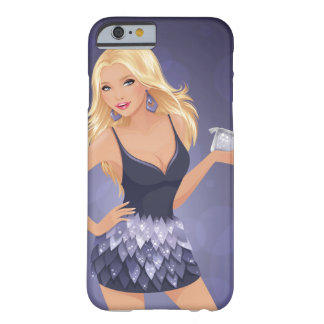 Blonde model holding purse in navy blue dress barely there iPhone 6 case
