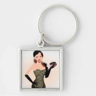 Blonde model in a black dress with long dress glov Silver-Colored square keychain