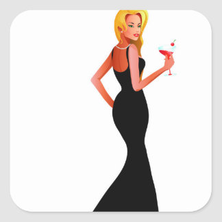 Blonde model in black dress holding a drink square sticker