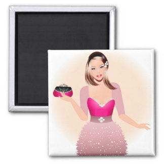 Blonde model in pink and white dress holding a pur 2 inch square magnet