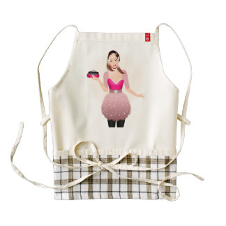 Blonde model in pink and white dress holding a pur zazzle HEART apron
