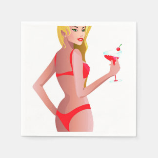 Blonde model in red bikini holding drink standard cocktail napkin