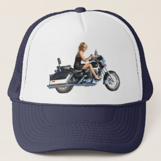Blonde model on Motorcycle Trucker Hat