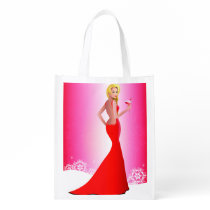 Blonde Model Red Dress Christmas Reusable Grocery Bag