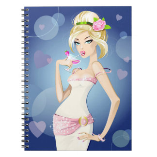 Blonde Model with Drink Notebook