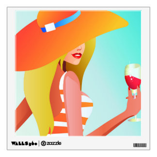 Blonde model with large orange hat holding drink wall sticker