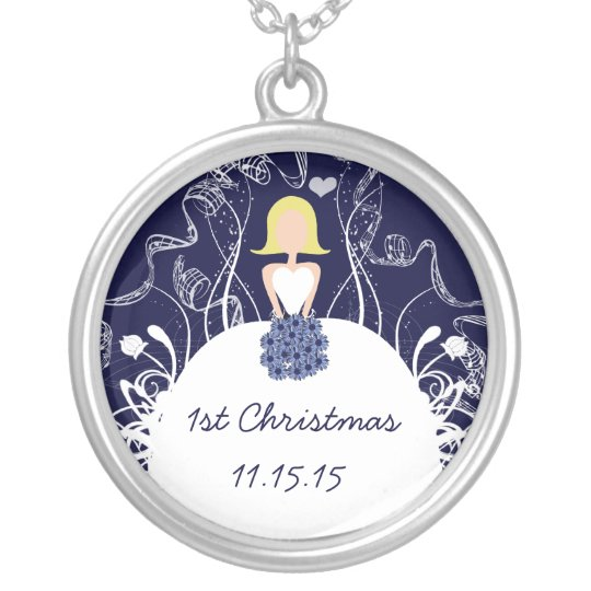 Blonde Navy Musical Wedding 1st Christmas Necklace