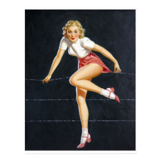 Blonde on Wire Pin Up Postcard