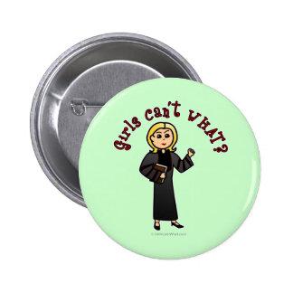 Blonde Pastor Girl Pinback Button
