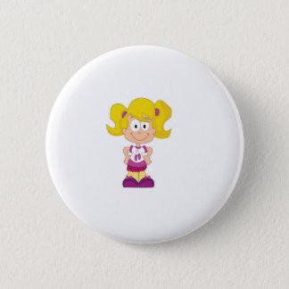 blonde pigtails pinback button