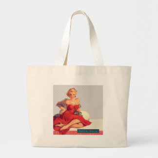 """Blonde Pin Up """"Hello, Love"""" Large Tote Bag"""