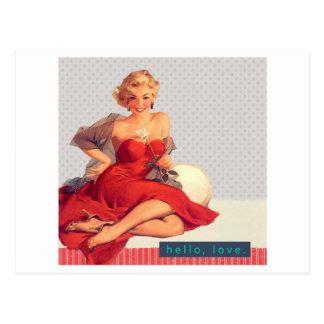 "Blonde Pin Up ""Hello, Love"" Postcard"